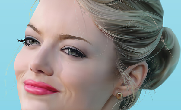 emma stone portrait gradient mesh gradient mesh Illustrator vector emma stone hair face