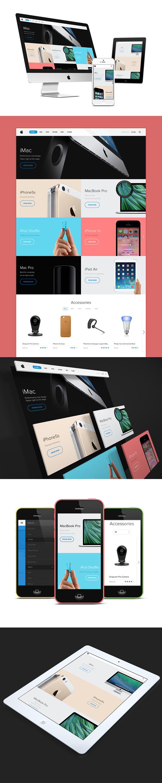 apple store iphone mac iPad Responsive redesign concept Ecommerce estore minimal flat