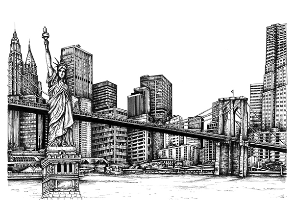 Line Drawing New York City Skyline : New york skyline on behance