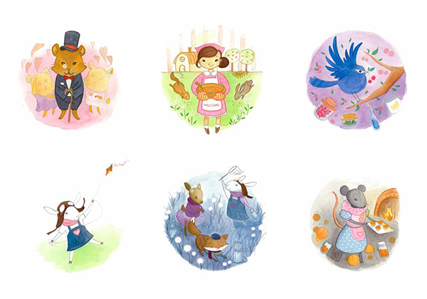 watercolour gouache sketch animals children's book ABC Book