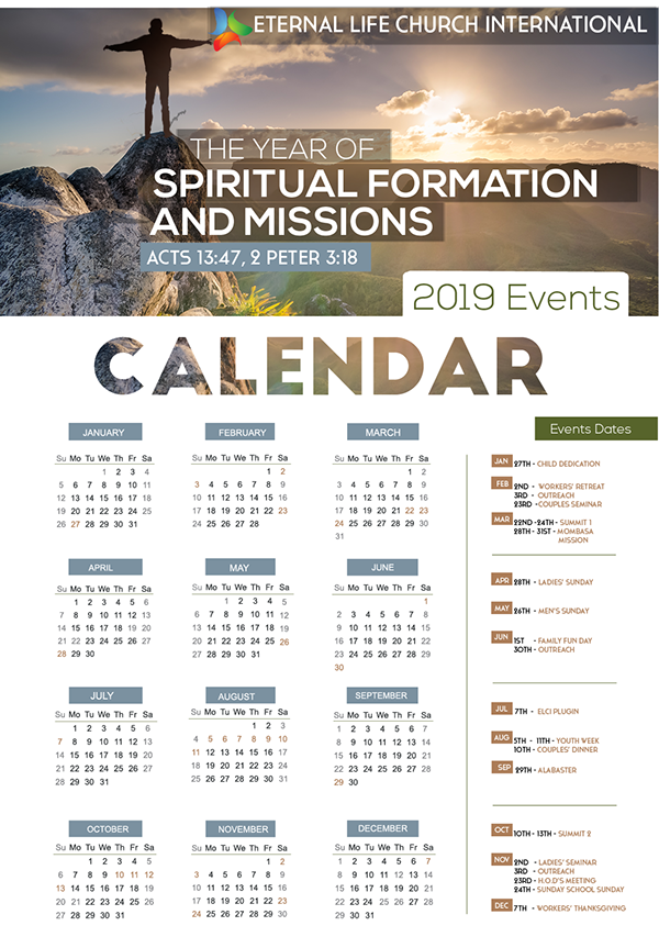 Church Calendar Design.2019 Calendar Design Elci On Student Show