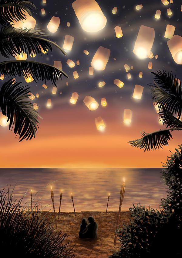 romantic summer nights digital illustration on behance