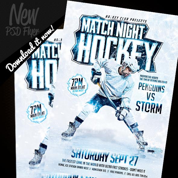 Hockey Game Night Flyer Template PSD on Behance gdTlN5Gb