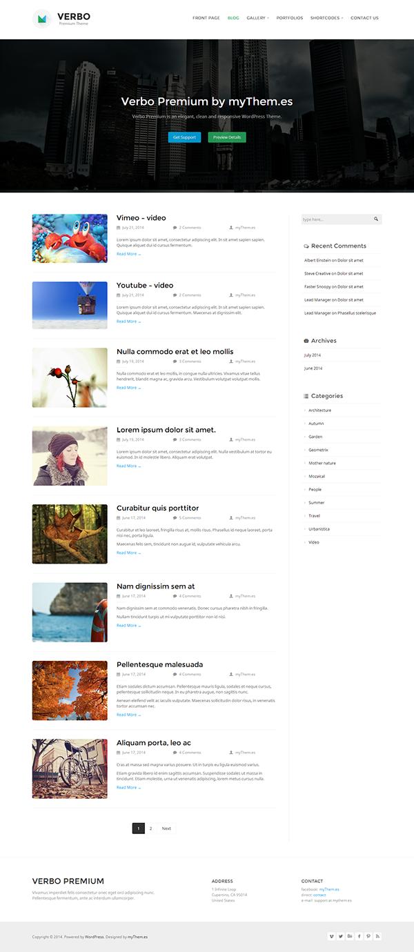 Verbo Premium Responsive WordPress Theme by myThem.es