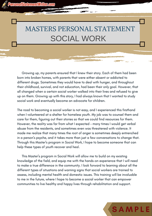 sample social work personal statement