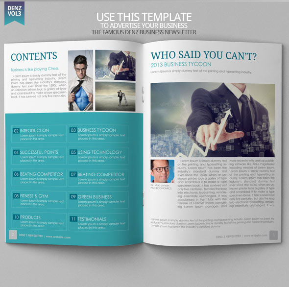 Denz  Business Newsletter Template  Modern Design On Behance