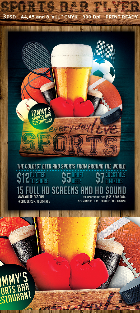 Sports Bar Flyer Template on Behance – Bar Flyer Template