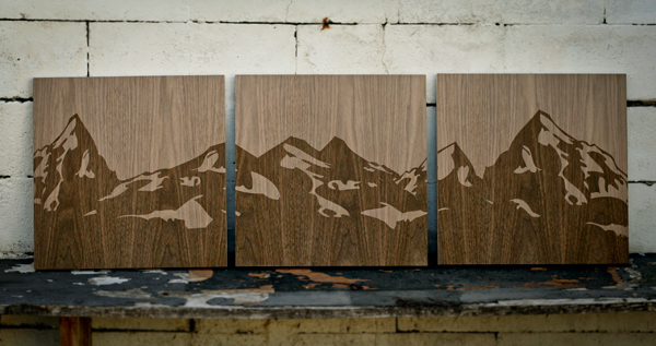 wooden mountain range triptic on behance