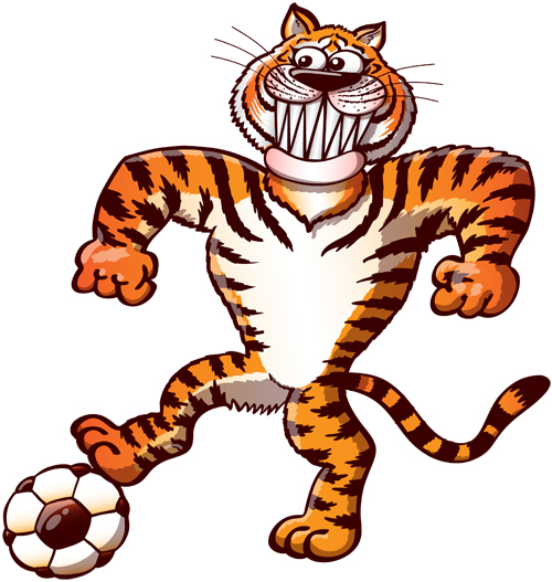 Cool tiger playing soccer and stepping a ball