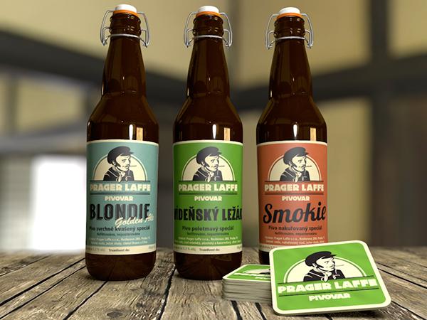 beer pivo prager laffe floutek bottle 3D Label