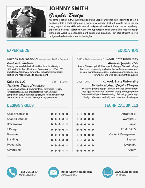 cool cv template in grey  blue on student show