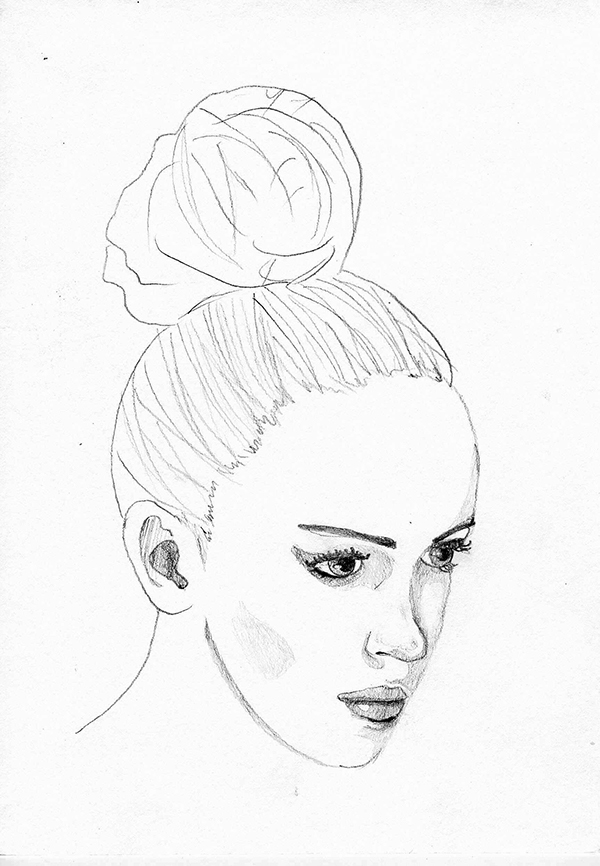 Line Drawing Male Face : Woman face sketch on behance