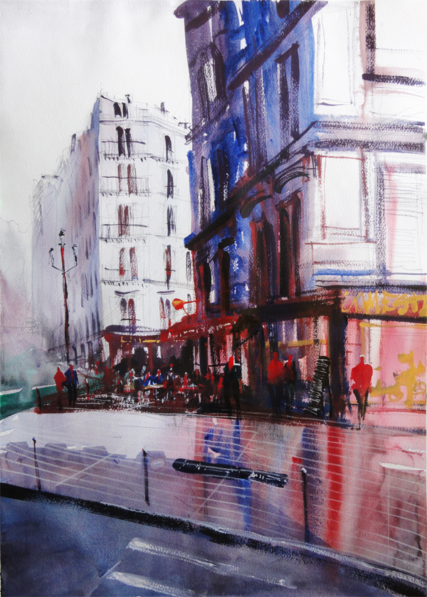 Brand-new Montmartre Serie (Paris) - Watercolor paintings on Student Show LL65
