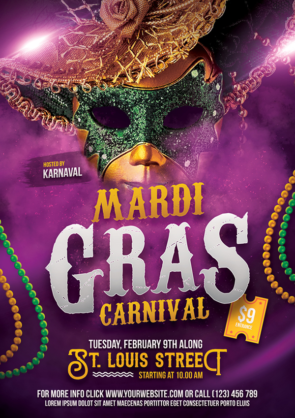 Mardi Gras Flyer Template On Pantone Canvas Gallery