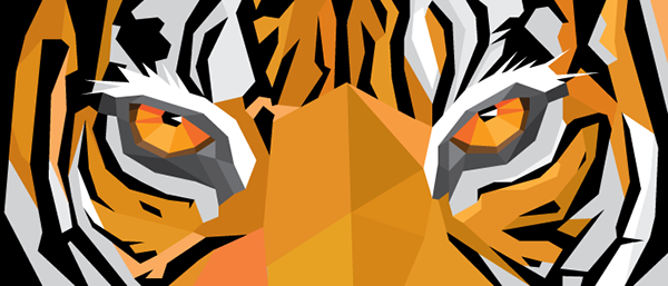 tiger geometric Geometric Tiger orange Tiger Protection Alliance logo postcard