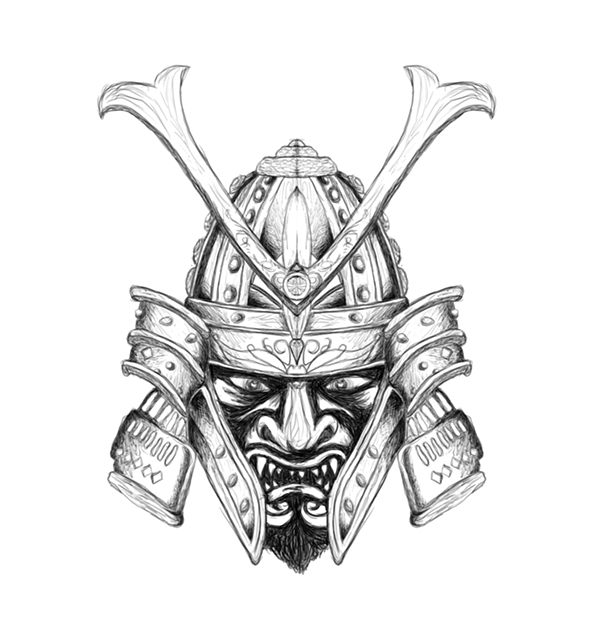Samurai Mask Drawing