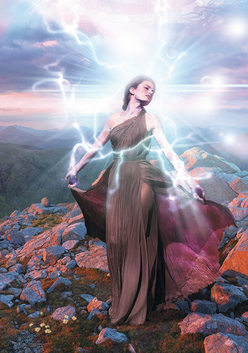 science fiction goddess light mountains spheres Transformation woman