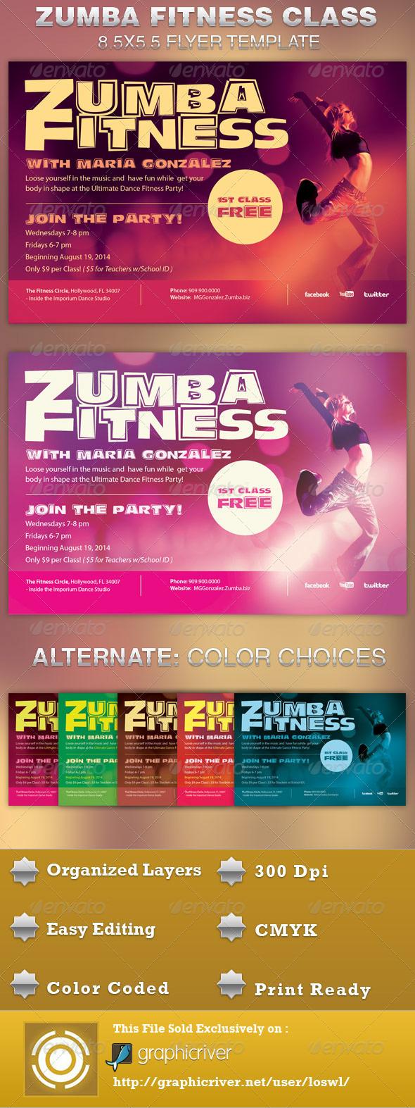Zumba Fitness Class Flyer TemplateZumba Class Flyer