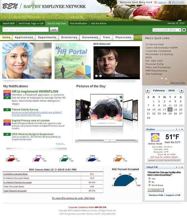 Baptist Employee Network Intranet Portal on Behance
