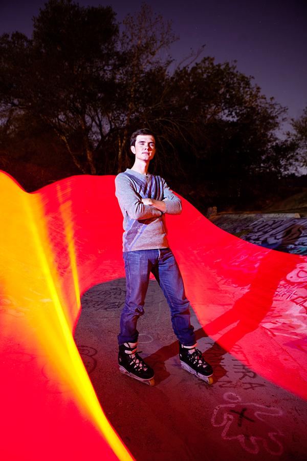 light light painting light graffiti red skate rollerblades portraits profile