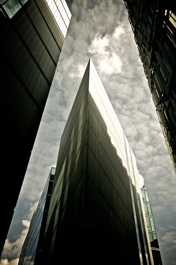 London Urban reflection looking up dramatic SKY light glass southbank shard