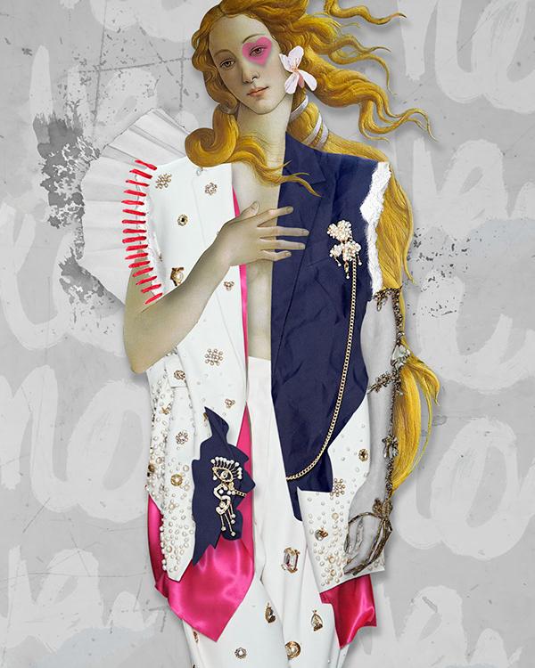 Schiaparelli inspired fashion illustration