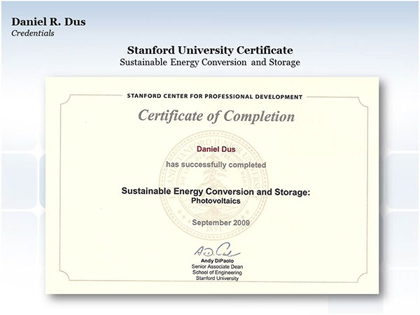 Stanford University Certificate Photovoltaics On Behance