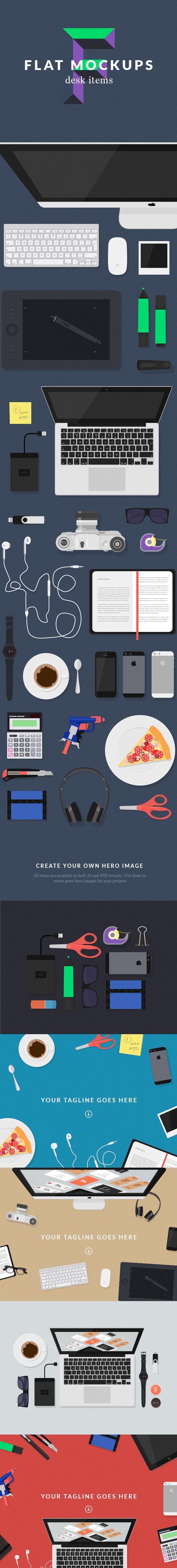 flat mock-up desk workspace hero image free psd Illustrator vector freebie