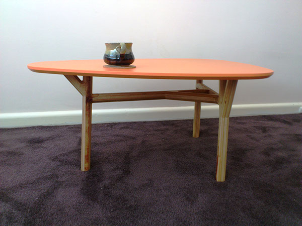 plywood cnc branches Tree  paint triangle Coffee table furniture digital fabrication