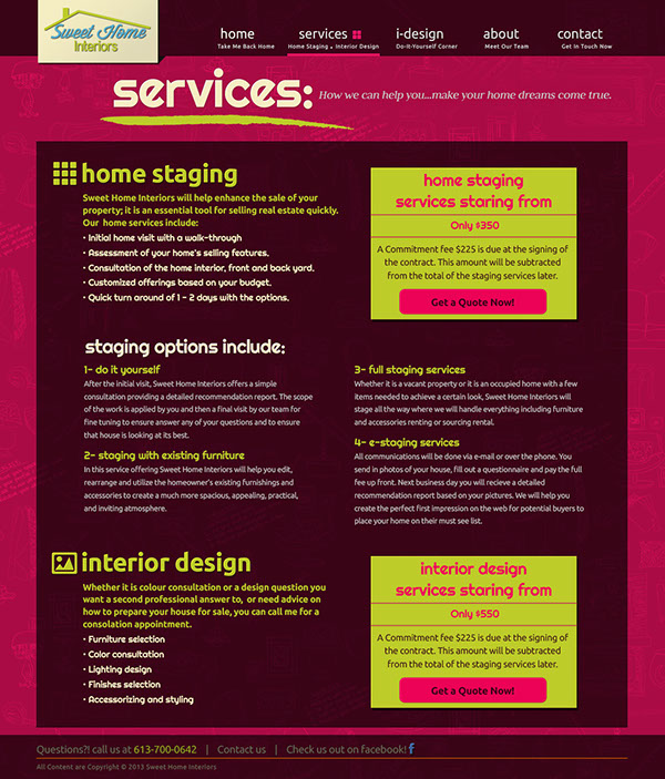 Design Of Home Page And Secondary Pages For The Sweet Home Interiors Website A Online And Offline Home Decorating Solutions