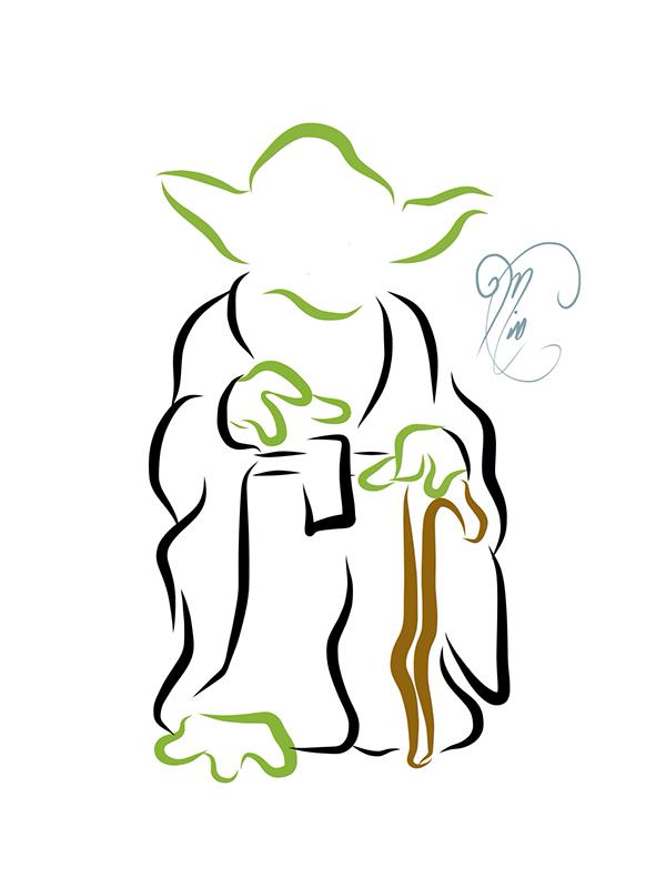 Line Art Yoda : Star wars line art on behance