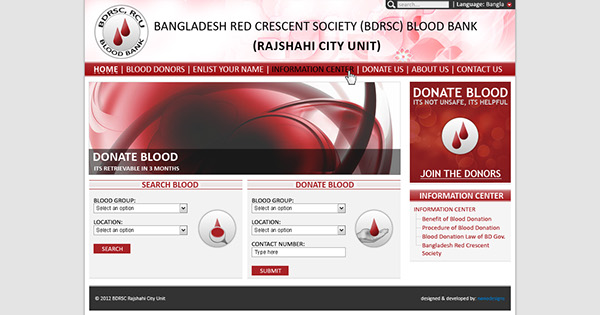 Layout design blood donation website on behance for Blood bank planning and designing