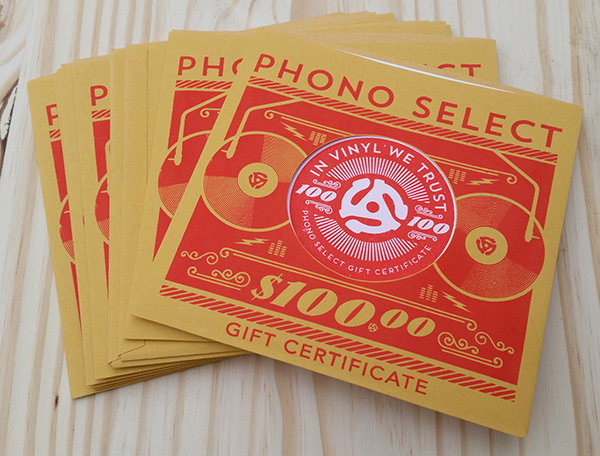 record store gift certificates on behance