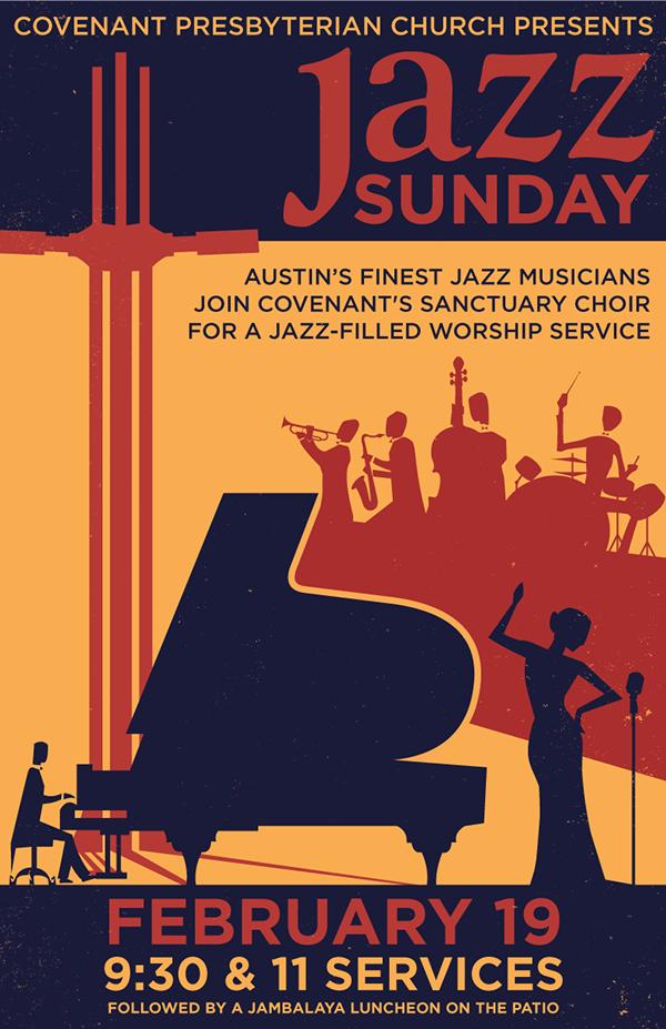 Event poster Illustrator InDesign jazz color