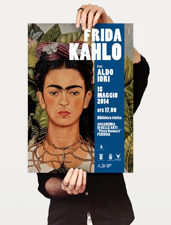 Frida Kahlo,Francesco Mazzenga,poster,Conferenza,Aldo Iori,Accademia Belle Arti,perugia