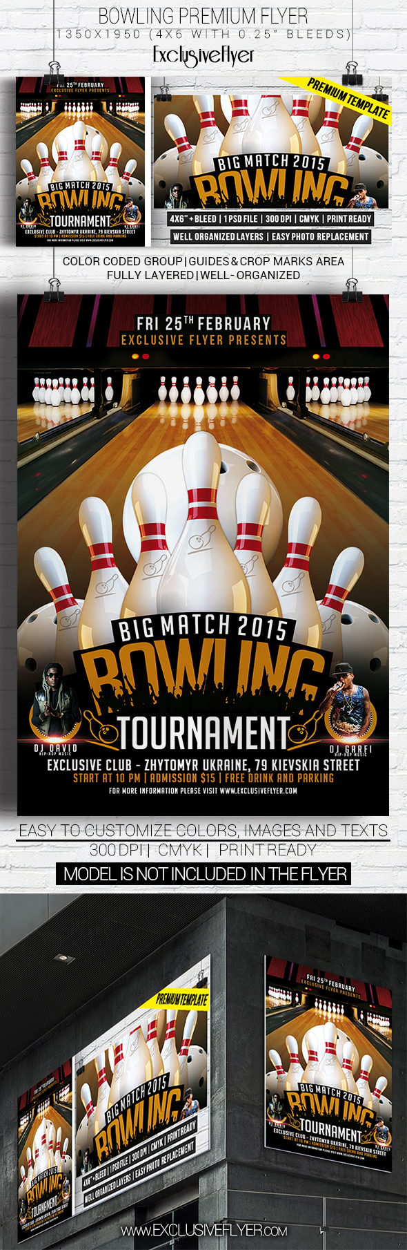Bowling Tournament Premium Flyer Template on Behance – Sports Flyers Templates Free