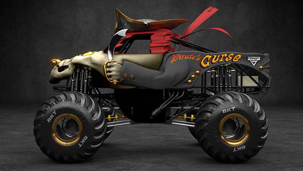 Exhibition D Model : D model pirate s curse monster jam truck on