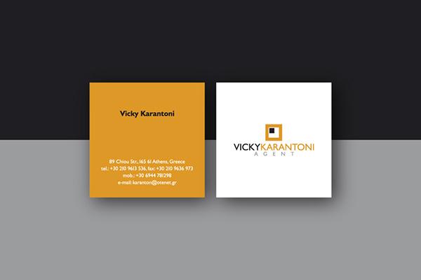 vicky karantoni agent Logotype business card identity Plan tile sanitary articles wooden floor decoration Greece athens themis kalokerinos design
