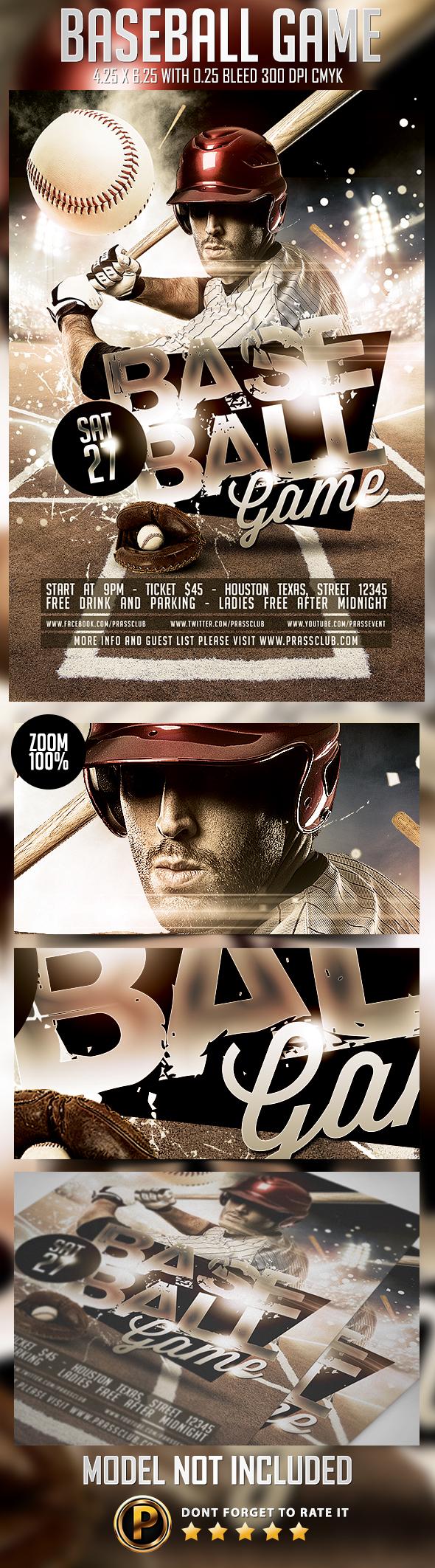baseball game flyer template on behance