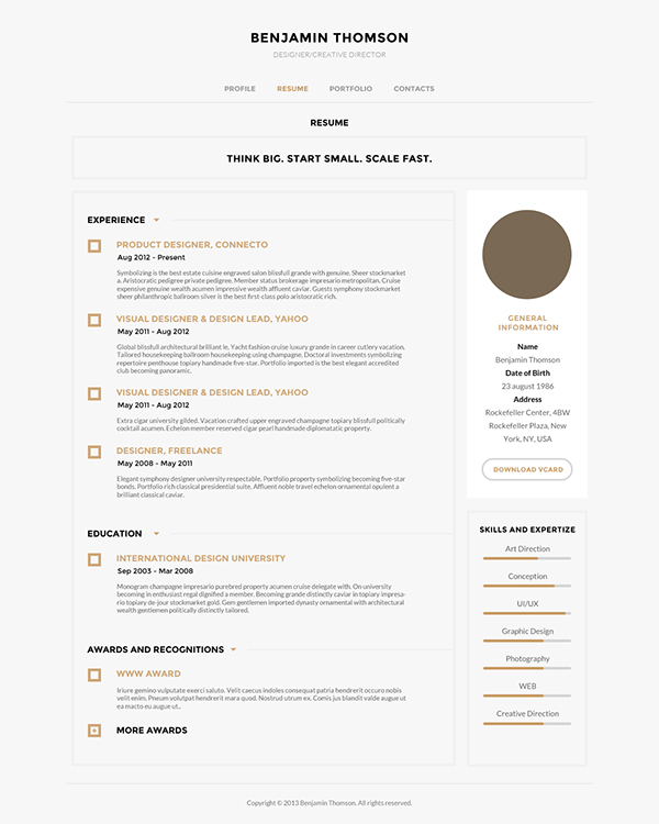 connecto  u2014 modern vcard  resume psd template on web design