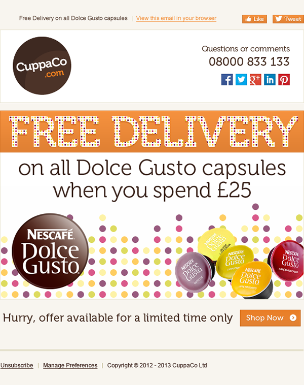 CuppaCo.com's Email Marketing Campaigns