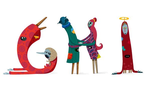 monfa Costa Rica ilustration ilustrador mascaradas gigantas zancos type typograpy