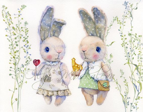 Watercolor rabbits by Olga Moskaleva