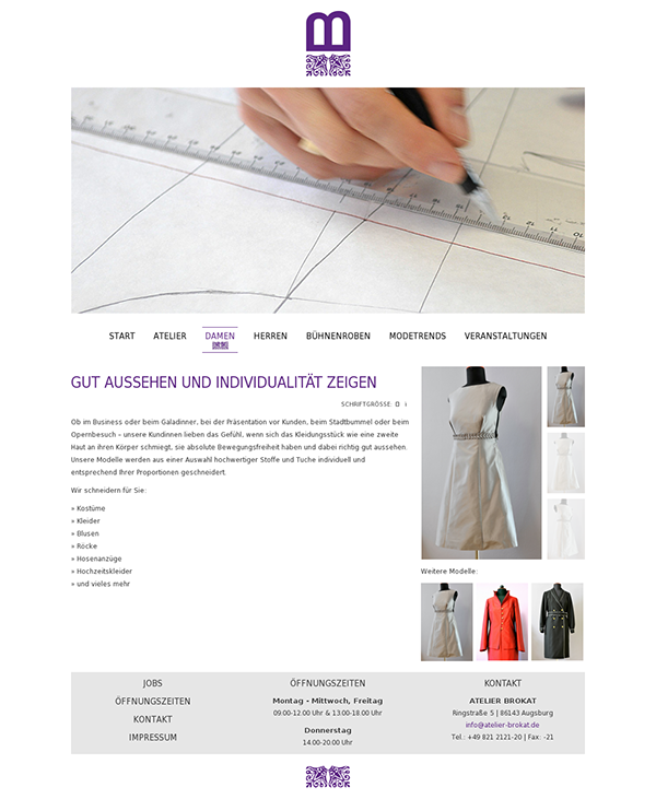 AP13 atelier brokat textil Abschlussprüfung White One Page detailviewer Website webpage Webdesign light clean modern