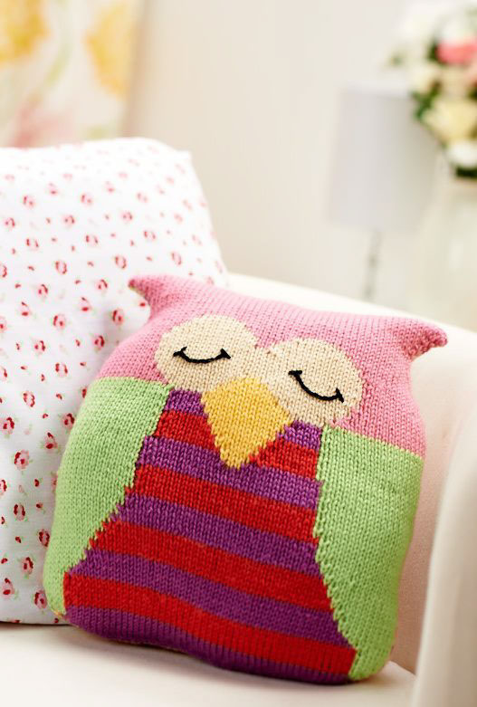 Owl Cushion Knitting Pattern : Lets Get Crafting magazine, issue 48 on Behance