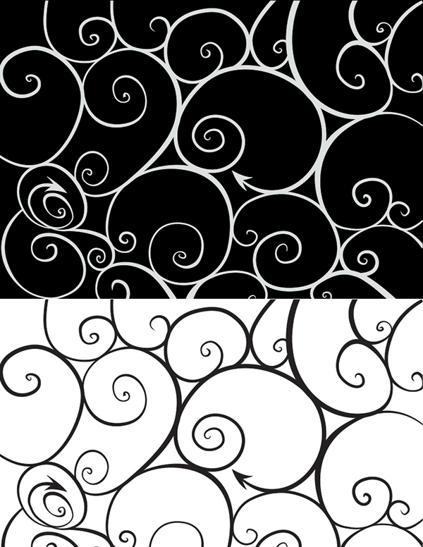 curly tracery pattern wallpaper design