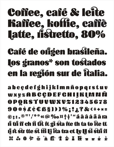 Typeface cafe Coffee Ligatures organic bold font organic font Brasil Brazil tipos latinos 2014 coffee typeface