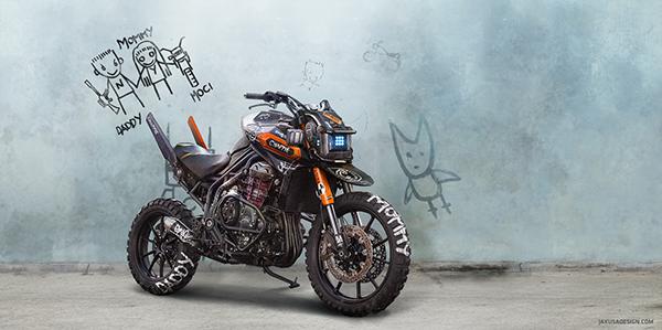 Chappie inspired motorcycle by Tamás Jakus