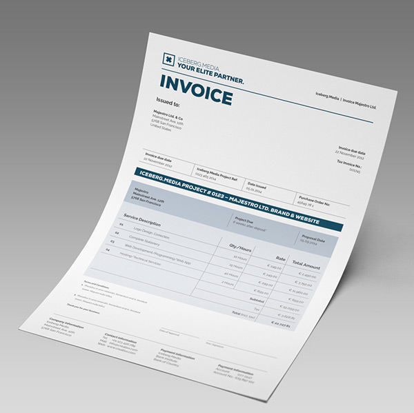 elite invoice design in all program formats on behance, Invoice templates