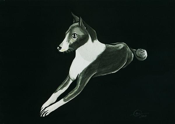 animals portrait ink gouache